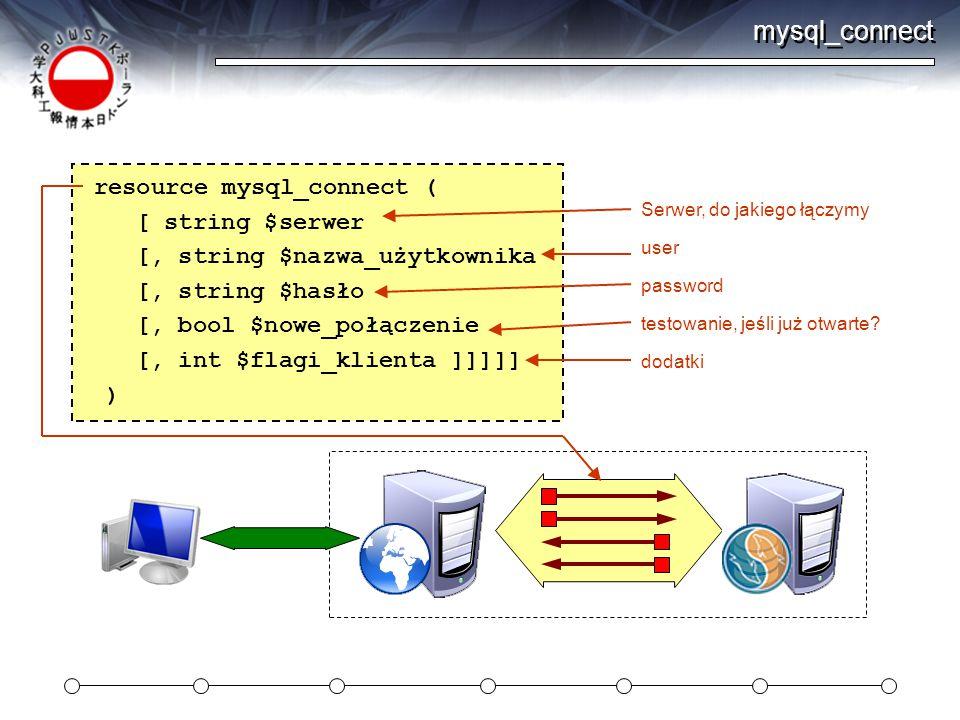 mysql_connect resource mysql_connect ( [ string $serwer